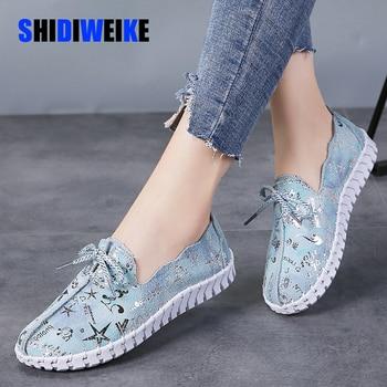 Zapatos planos de primavera verano para mujer, zapatos planos de cuero genuino, zapatos de mujer con cordones, mocasines casuales, zapatos para caminar deslizantes para mujer