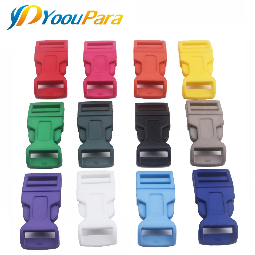 10pcs/pack 15mm Plastic Clasps Contoured Side Release Buckles For Paracord Bracelet Backpacks Shoes Bags Cat Dog Collar Decor
