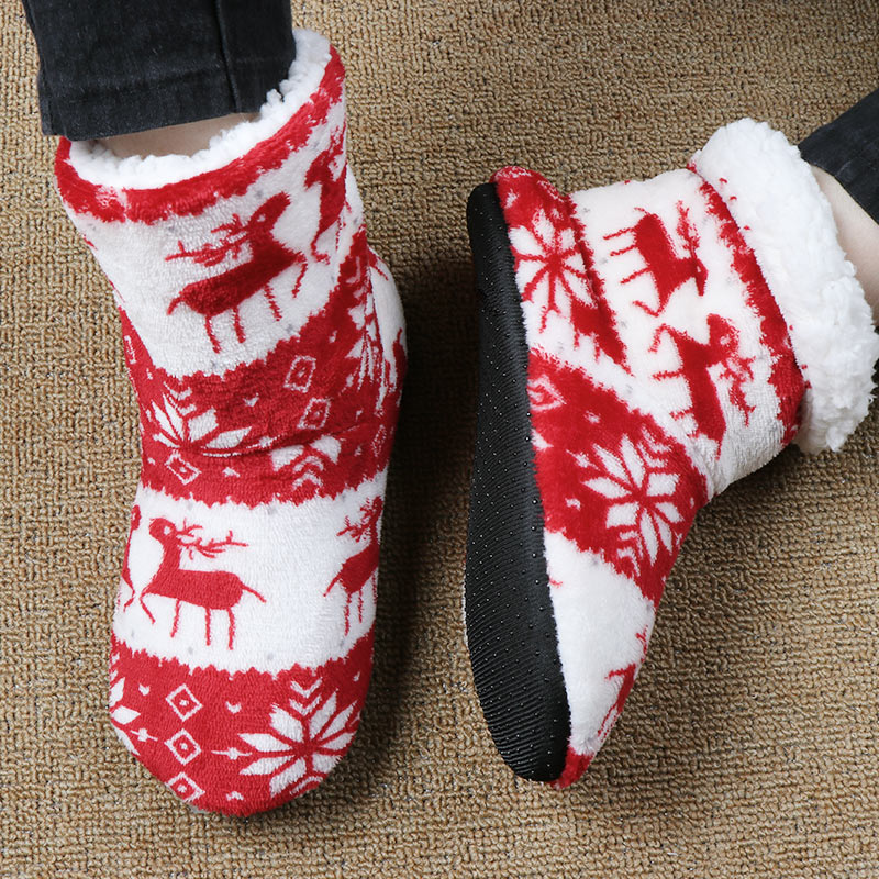 Winter Women Coral Fleece Slippers Plush Warm Home Boots Slippers Christmas Elk Printed Indoor Socks Shoes Women Floor Shoes