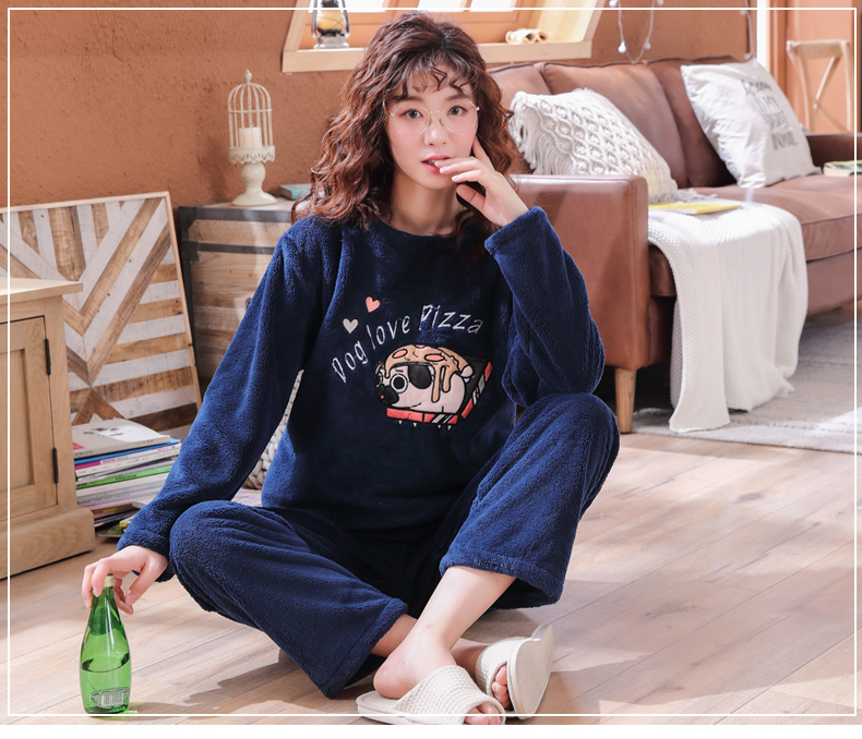 Long Sleeve Warm Flannel Pajamas Winter Women Pajama Sets Print Thicken Sleepwear Pyjamas Plus Size 3XL 4XL 5XL 85kg Nightwear 297