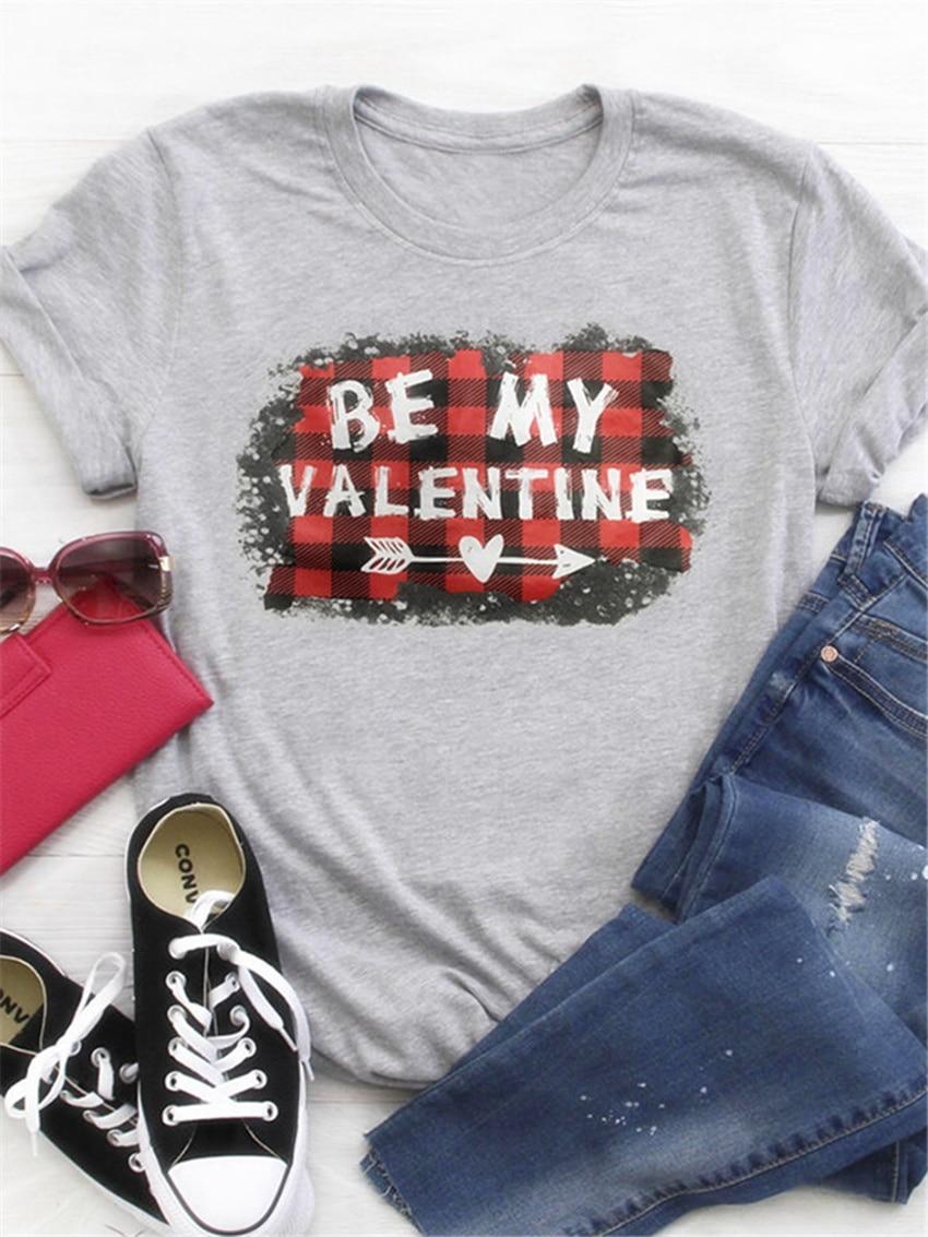 Valentine's Short Sleeve Top Women Cute T-shirt 2020 New Valentine Day Top Summer Tops Tee Large Size Women T Shirts 3XL
