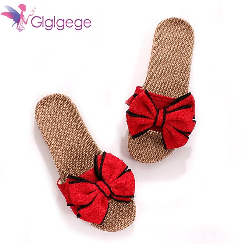 Glglgege Women Summer Casual Slides Comfortable Flax Slippers Striped Bow Linen Flip Flops Platform Sandals Ladies Indoor Shoes