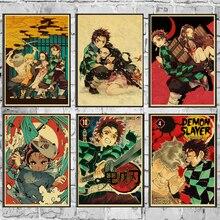 Винтажные постеры демон убийца Kimetsu no Yaiba аниме плакат настенный Арт Ретро плакат живопись украшение для гостиной домашний декор