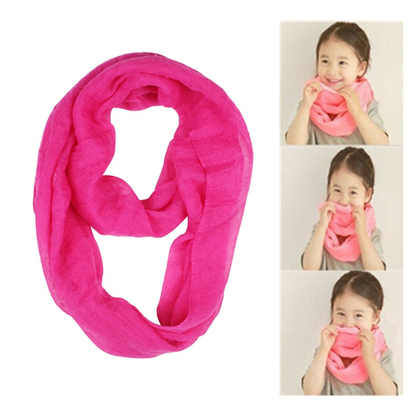 19 Colors Two Loop Solid Color Baby Scarf Viscose Cotton Kids Girls Scarfs Boy Shawl Tube Scarves New Children's Snood