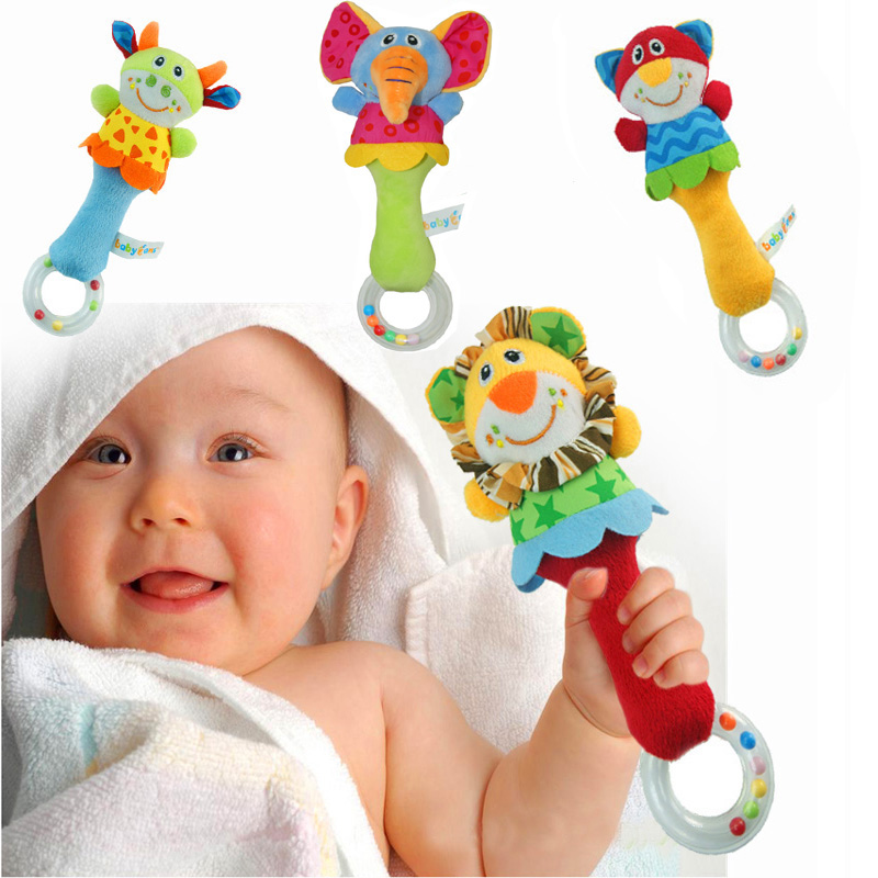 0-12 Months Baby Hand Rattle Plush Cartoon Animal Hand Bell Practice Hands Soft Cute Washable Kid Toys For Newbron Infant Gift