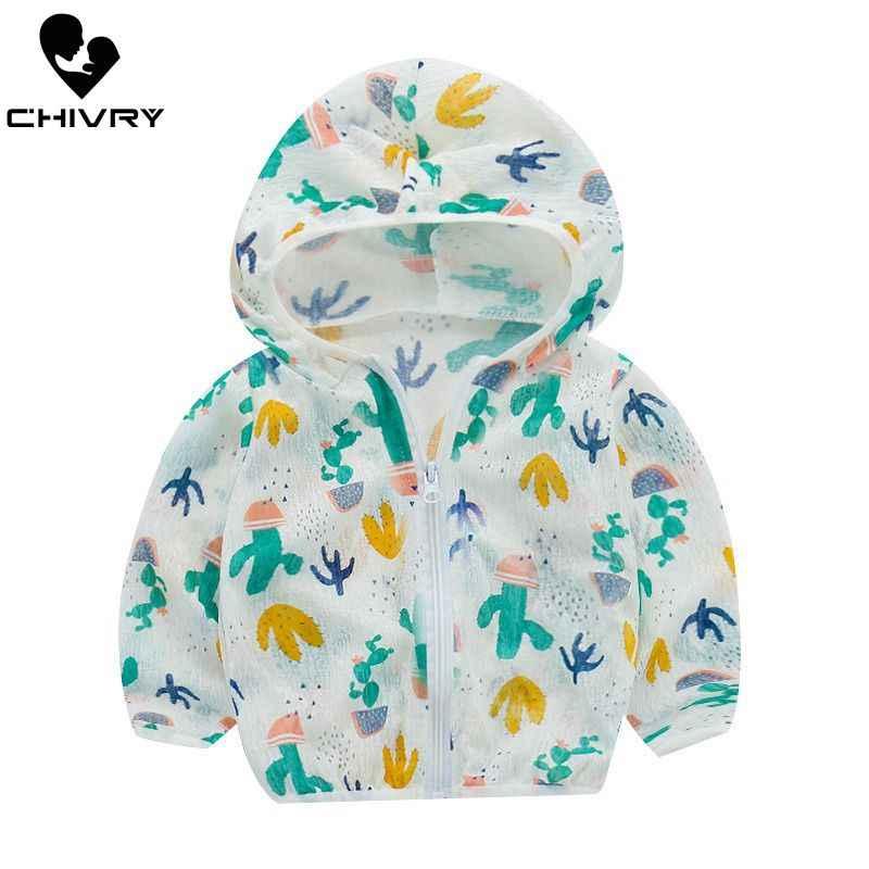 ใหม่ 2019 เด็กป้องกันดวงอาทิตย์เสื้อผ้าฤดูร้อนฤดูใบไม้ร่วงเด็กสาวบางการ์ตูนเด็กชายหาดSun Jacket outwear