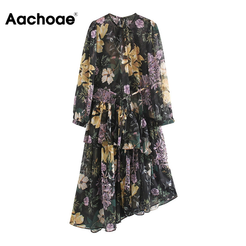 Aachoae Women Floral Print Vintage Chiffon Dresses O Neck Ruffles Asymmetrical Dress Long Sleeve Sashes Dress Boho Midi Sundress