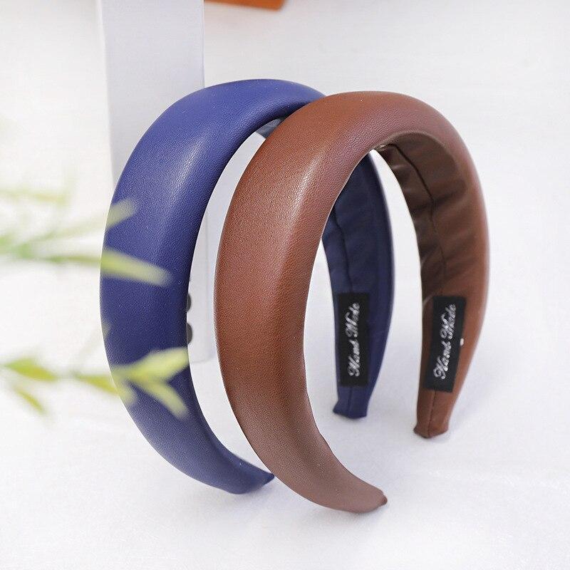1Pcs PU Leather Headbands for Women Sponge Hairbands Hair Accessories Retro Hoop Headwear