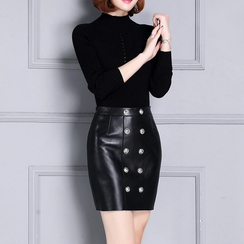 Genuine Leather Women Double Breasted Slim Fit Wrap Skirts High Waist Sheepskin Plus Size 4XL Female Fashion Thick A-Line Skirts