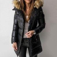 Пальто для женщин, зимняя парка, пальто 2019, Повседневная теплая женская верхняя одежда, пальто с длинным рукавом, на молнии, с хлопковой подк...