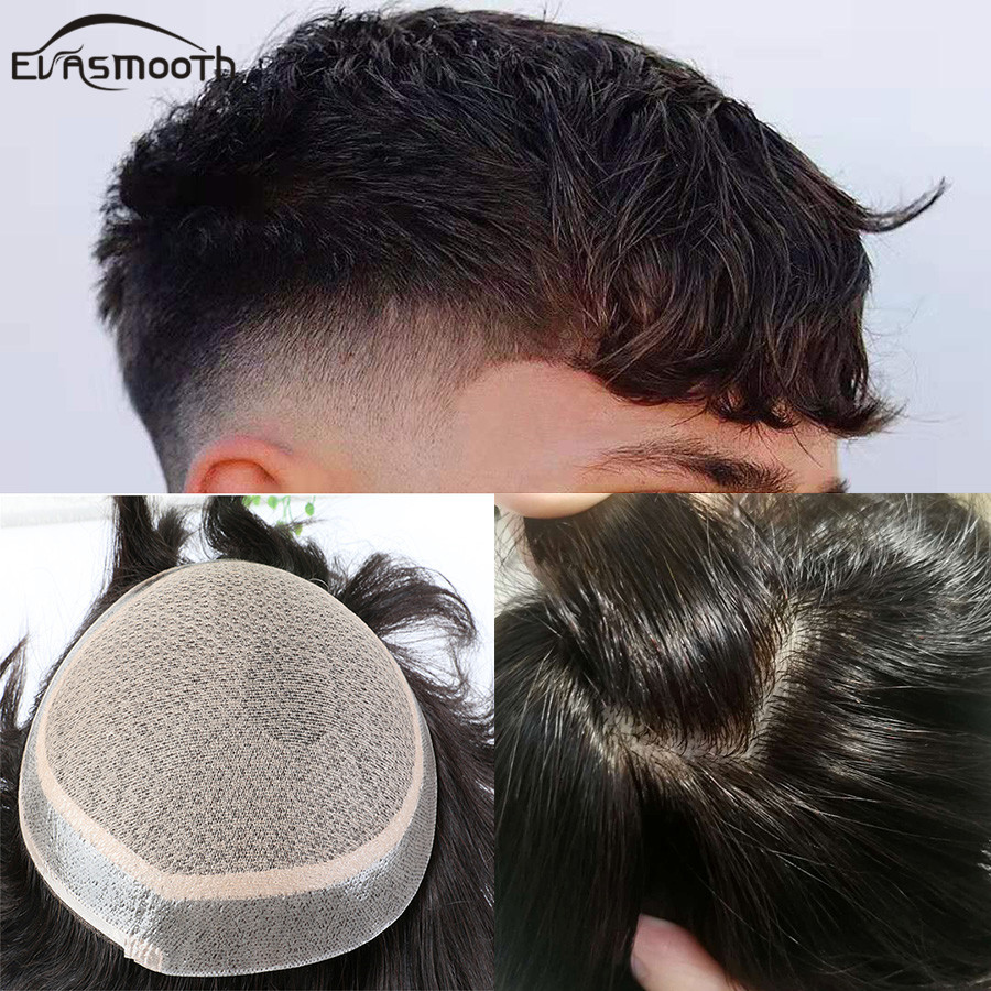 Silk Base Style Toupee Men Real Natural Hair Lace Front Human Wigs Men Toupee Jewish Wig Hair Toupee Replacement Men Hairpieces