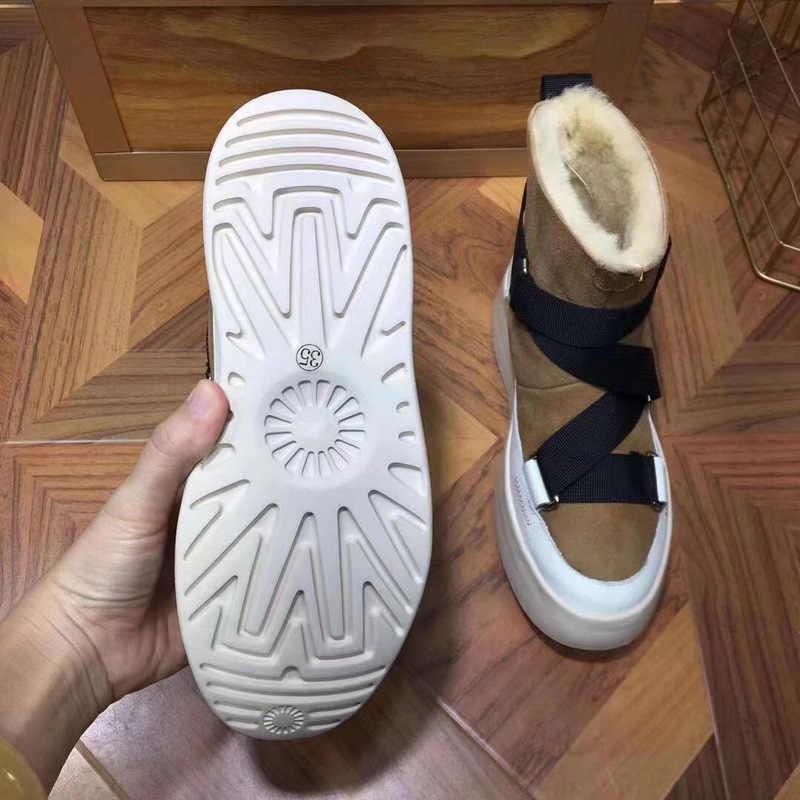 Kadın kar botları 2019 hakiki deri kış çizmeler kadınlar düz peluş yarım çizmeler platform kaymaz tutmak sıcak kadınlar pamuklu ayakkabılar