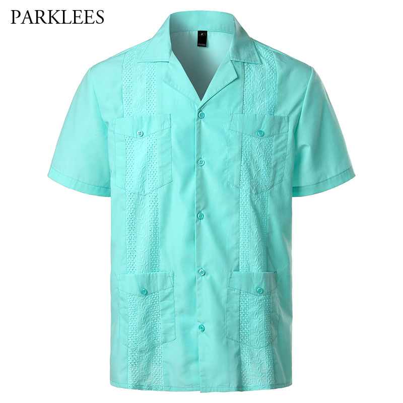 Cuban Camp Guayabera Shirt Men Short Sleeve Casual Button Down Embroidery Mens Shirts Soft Breathable Solid Color Beach Shirts