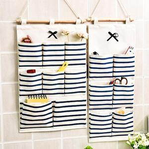 6/8 Pockets Cotton Linen Fabric Portable Wardrobe Hanging Storage Bag Hangers Clothes Rack Organizer Hanging Closet Organizer(China)