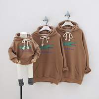 Matching Family Outfits Cartoon Crocodile Hooded Sweatshirt Father Son Matching Clothes Mother Daughter Hoodies High Quality New
