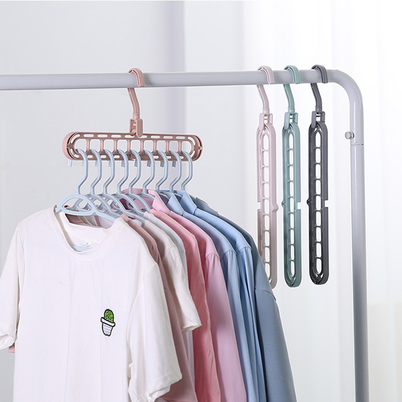 Hangers Clothes-horse Multiport Support Baby Clothes-horse Plastic Scarf Storage Rack 9 Hole Multifunctional Hanger Save Space