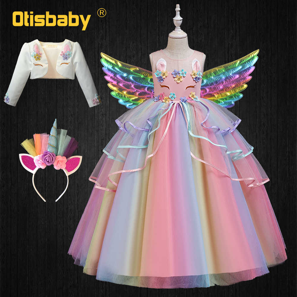 Unicorn Dress Kids Halloween Carnival Costume Floral Girls Tiered Ruffle Dress Graduation Dresses for Teenagers Prom Gown Child