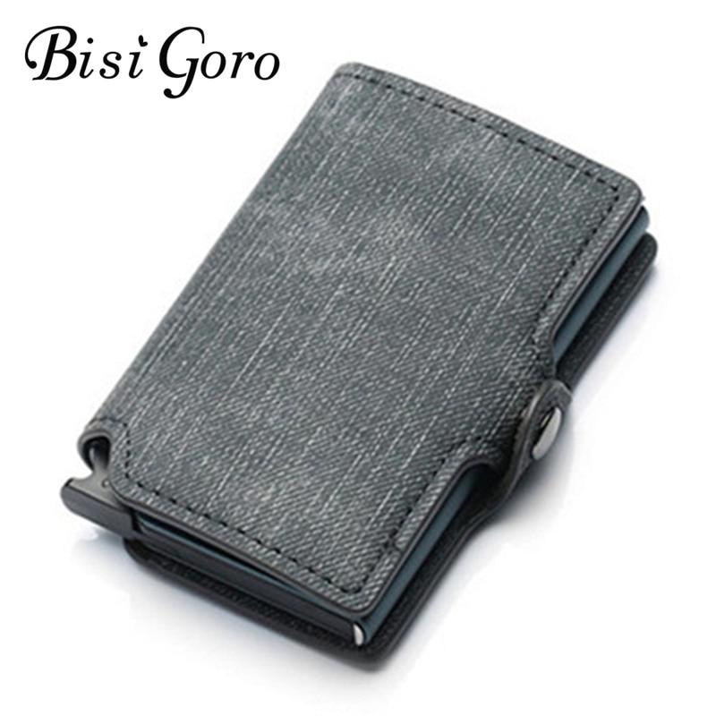 BISI GORO  Slim Wallet Credit Card Wallet New RFID Blocking Slim Card Holder PU Single Aluminum Box Business Hasp Dropshipping