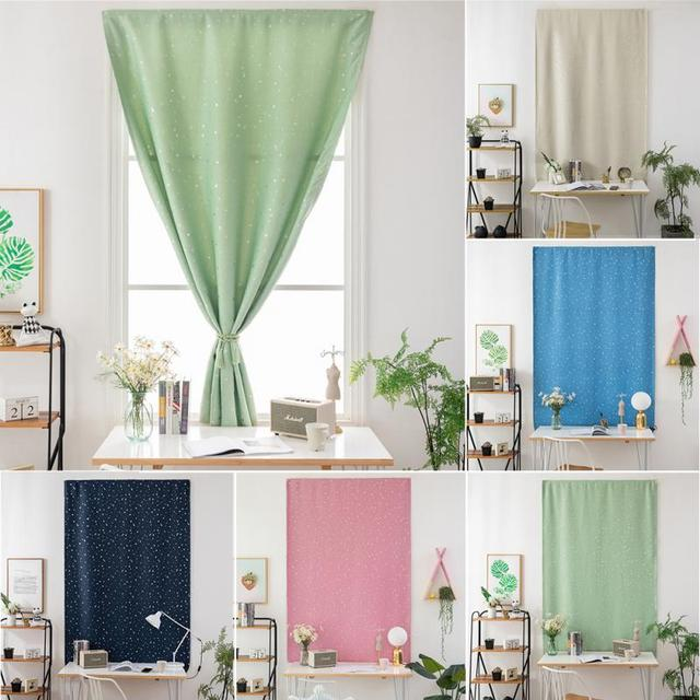 Shiny Silver Stars Print Blackout Window Curtains Shades Self-Adhesive Blinds for Bedroom Window Voile Tulle Curtains 1