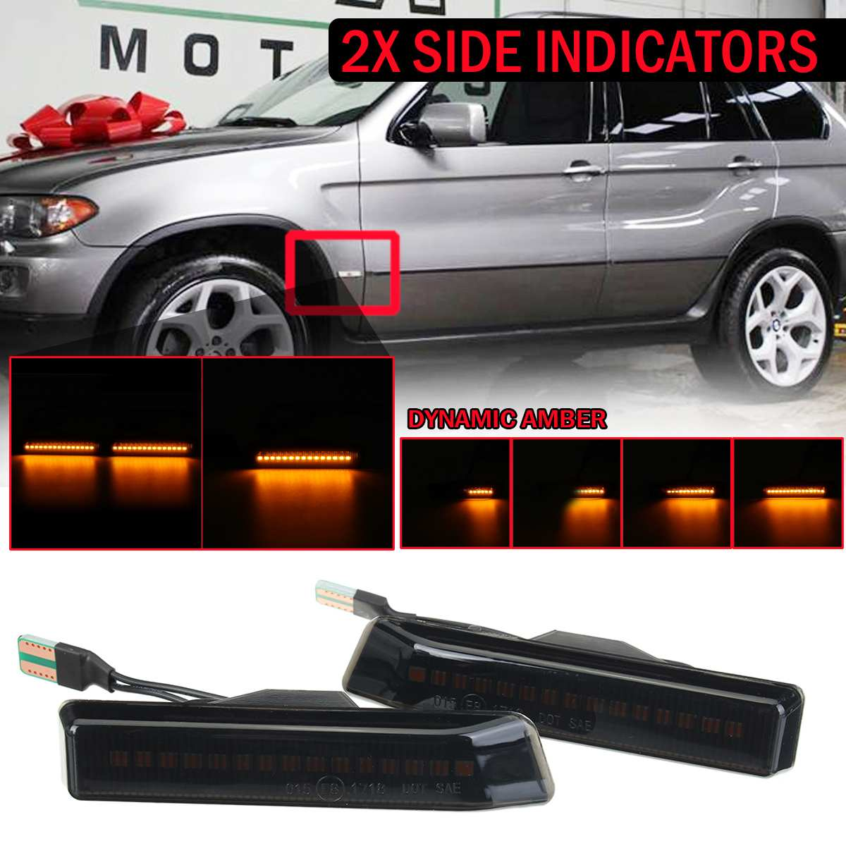 2pcs Dynamic <font><b>LED</b></font> Side Marker Lights Flowing Turn Signal Light 12V Panel Lamp Blinker for <font><b>BMW</b></font> X5 E53 00-06 M3 3 SERIES <font><b>E36</b></font> 97-98 image