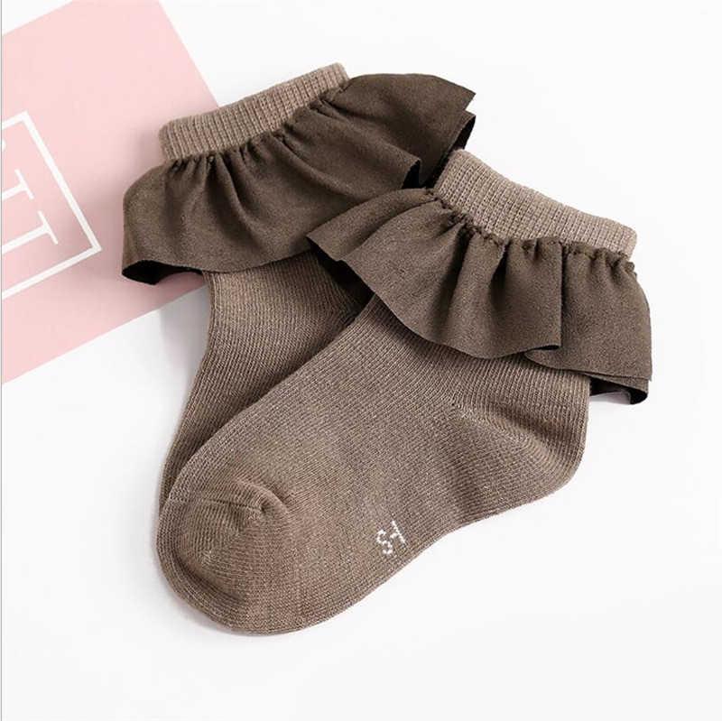 가을 겨울 아기 소녀 양말 어린이 신생아 유아 레이스 웰트 니트 따뜻한 양말 2-8 세 어린 소녀 착용