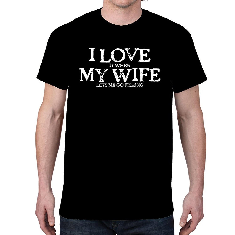 I LOVE MY WIFE...FISHINGER Black T-shirt Cartoon Print Short Sleeve T Shirt Free Shipping T Shirt Homme 2018 New