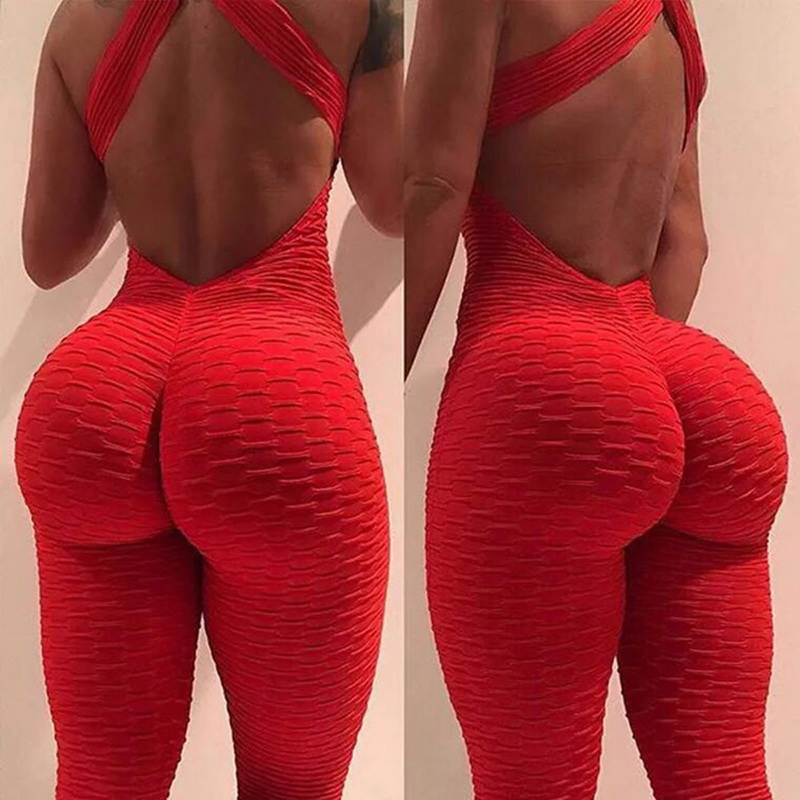 2021 Sexy Halter Women's Tracksuit Yoga High Waist Play suit Slim Sport Backless Top Running Sportswear Pants Push up Jumpsuit 1