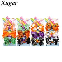 3Pcs/lot 3 Inch Jojo Bows for Girls Halloween Party Print Ribbon Hair Clip Cute JOJO BOWS Children Accessories