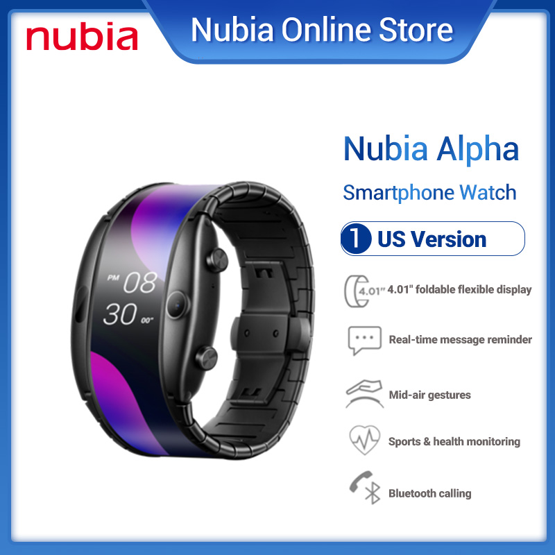 """US Version Nubia alpha Smart Watch Phone 1GB RAM 8GB ROM 4.01""""foldable flexible display Mobile Phone band Curved surface screen"""