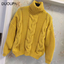DUOUPA 2019 Autumn Turtleneck Sweater Knitwear Pullovers Lapel Sweaters WomenLoose Sweater Jumper Female Solid Chic Sweater Tops brand casual turtleneck sweater men pullovers autumn knitwear