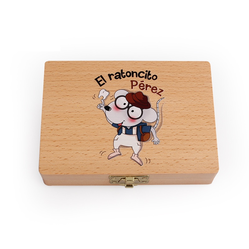 Baby Wooden Tooth Box Commemorative Box Tooth Finishing Box Child Tooth Storage Box Tooth Fairy Wood Box