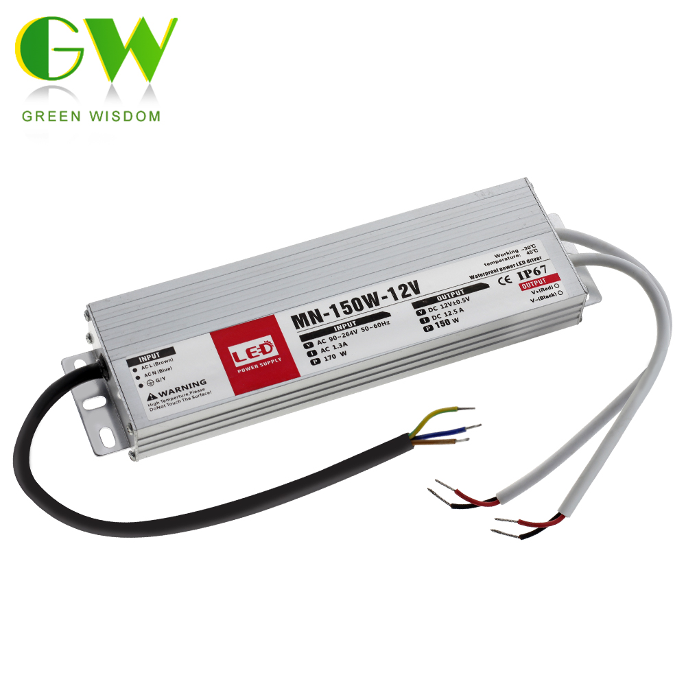 IP67 Waterproof LED Driver DC12V 24V Lighting Transformers For Outdoor Light 12V Power Supply 10W 20W 30W 45W 60W 100W 150W 200W