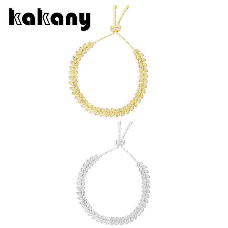 KAKANY New Fashion High Quality Cubic Zirconia Gold Yellow Adjustable Palm Leaf Bracelet Zircon CZ Monaco Ladies Luxury Jewelry