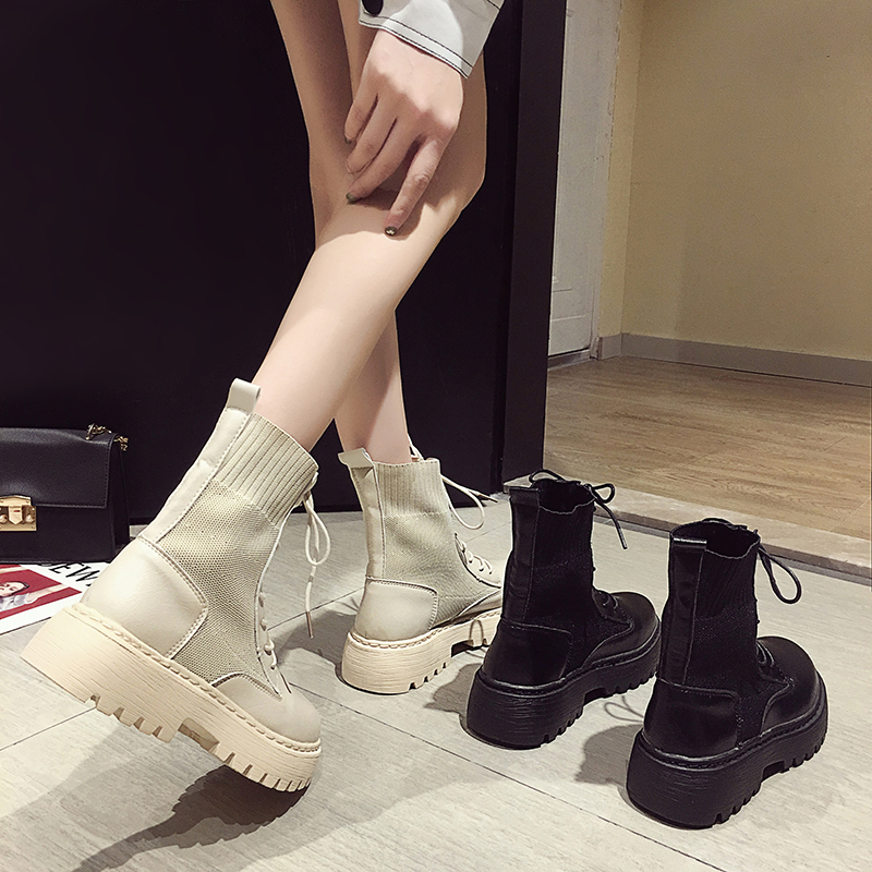 Ankle Boots for Women 2021 Spring Motorcycle Boots Thick Heel Platform Shoes Woman Slip on Round Toe Fashion Martin Boots