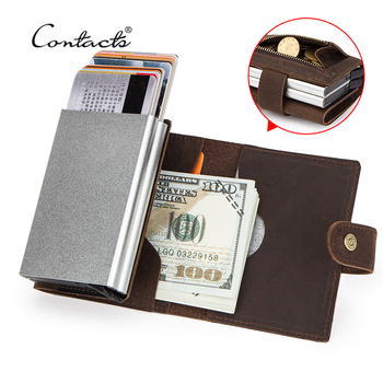 CONTACT'S Crazy Horse Leather Card Holder Wallet Men Automatic Pop Up ID Card Case Double Aluminium Boxes RFID Coin Purse Male men automatic credit card holder wallet crazy horse leather male coin purse mini id card rfid blocking pop up creditcard case