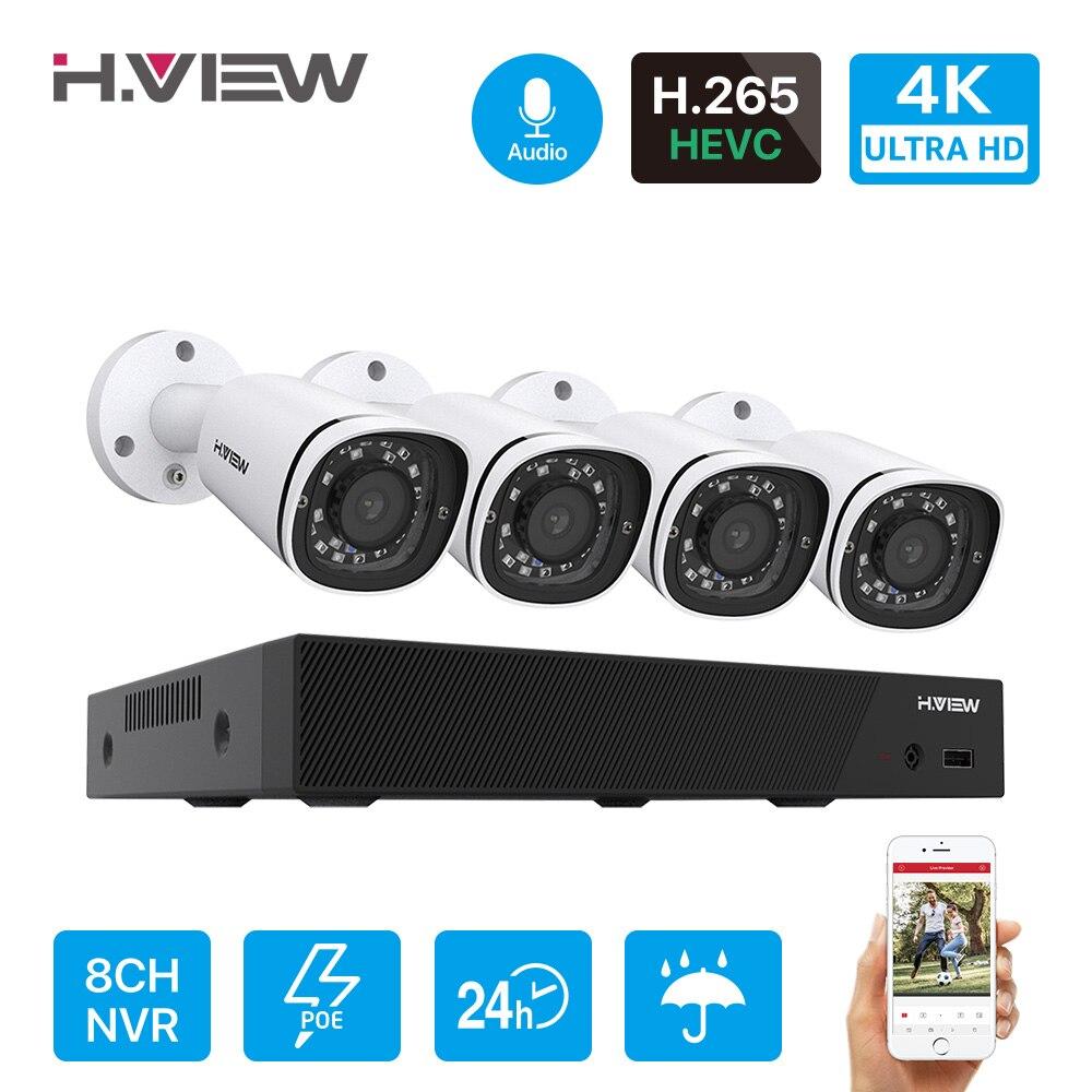 H.View – ensemble de caméras IP Poe Ultra HD 4K, 8 canaux, système de sécurité CCTV, 8MP, H.265, enregistrement Audio NVR, KIT de vidéosurveillance d'extérieur 1