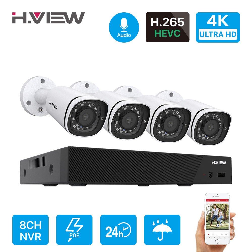H.View 4K Ultra HD Poe Ip Camera Set 8CH Cctv Security Camera System 8MP H.265 NVR Audio Record Outdoor Video Surveillance KIT