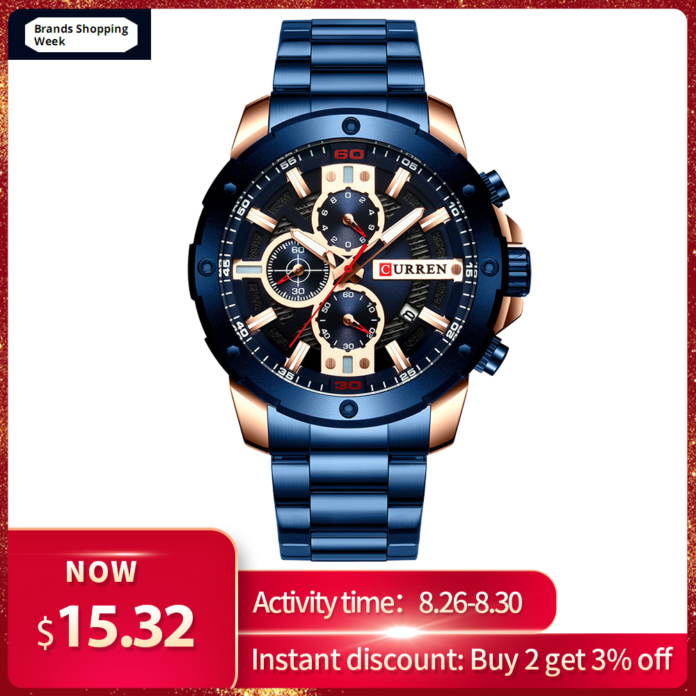 CURREN Sporty Watch Band Clock Male Military Chronograph Stainless-Steel 8336 Waterproof