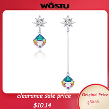 Clearance Sale Lower Price Sterling Silver Geometric Cubic Zircon Long Chain Dangle Earrings for Girls Jewelry FIE545
