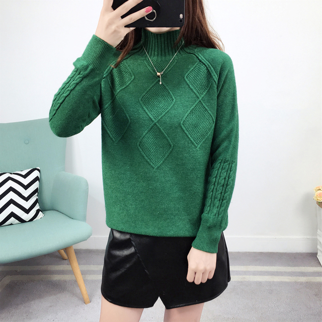 Ailegogo Sweaters 2019 Autumn Winter Solid Thick Turtleneck Casual Ladies Knitted Sweater Pullovers Women's Jumpers Tops 5