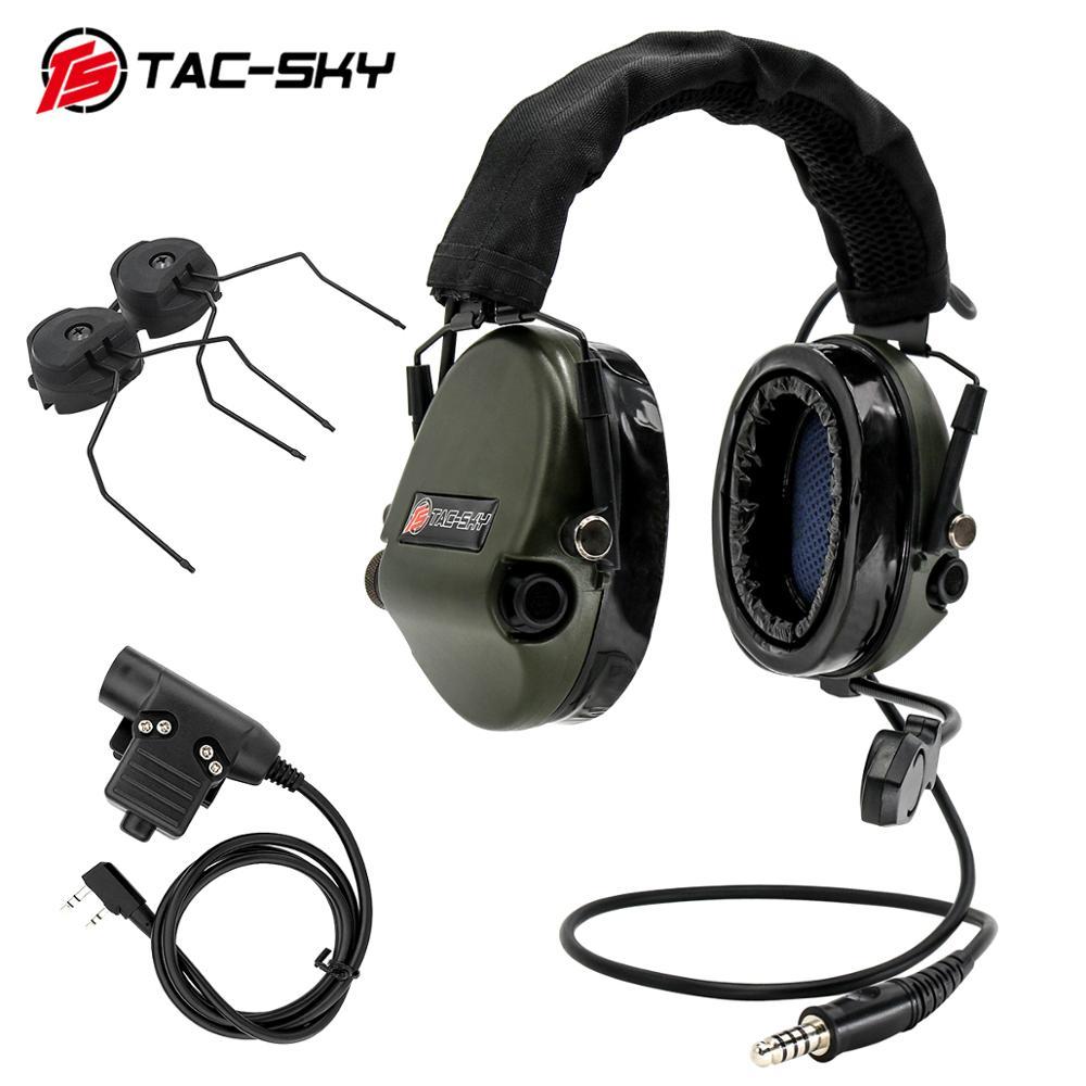 Tactical headset TAC-SKY TEA Hi-Threat Tier 1 silicone earmuffs noise pickup military headset +u94 PTT and ARC helmet bracket