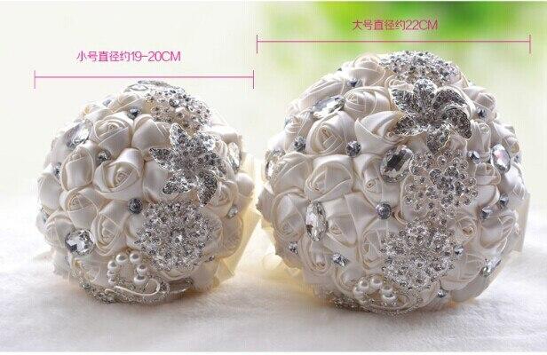 Big Size Luxurious Crystal Silver Rose Flower Wedding Bouquet Bling Brooch Bride Wedding Flowers Ramos De Novia Mariage