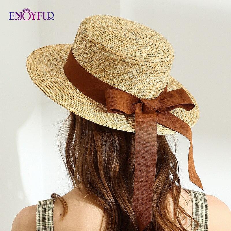 ENJOYFUR Summer Straw Sun Hats Women Ribbon Bow Panama  Beach Hats Fashion High Quality Sun Protection Hat  Chapeu Feminino Cap