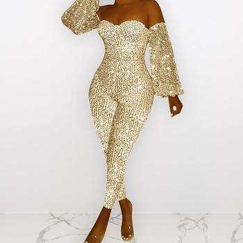 Sequins Women Jumpsuits Elegant Off Shoulder Lantern Sleeve Slim Rompers Partywear Overalls Monos de Fiesta 2020 Drop Shipping E lace applique lantern sleeve cold shoulder top