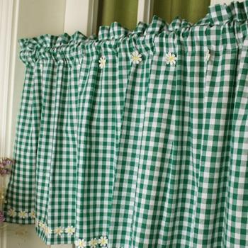 Cortina corta DUNXDECO para puerta de cocina, Cortinas de la mitad del estilo campestre verde Margarita bordada de flores, decoración del hogar Rideau de algodón