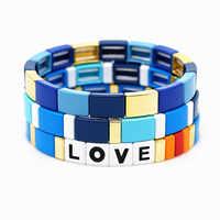Shinus carta amor brazaletes hombres estiramiento pulsera azul esmalte azulejo Pulseras Boho Popular mujeres 2019 Mujer joyería de verano