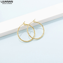 2pcs/set Chic Hoop Earrings Gold Plated Stainless Steel Hoop Earrings for Women Copper Gold Plated Small Earrings Gift 28mm/40mm pair of chic rhinestone hoop earrings for women