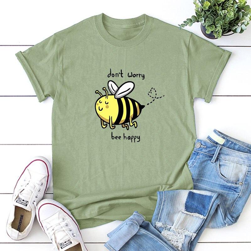 Plus Size S-5XL Lovely Bee Print T Shirt Women Shirts 100%Cotton O Neck Short Sleeve Tees Summer T-Shirt Pink Top TShirt Women