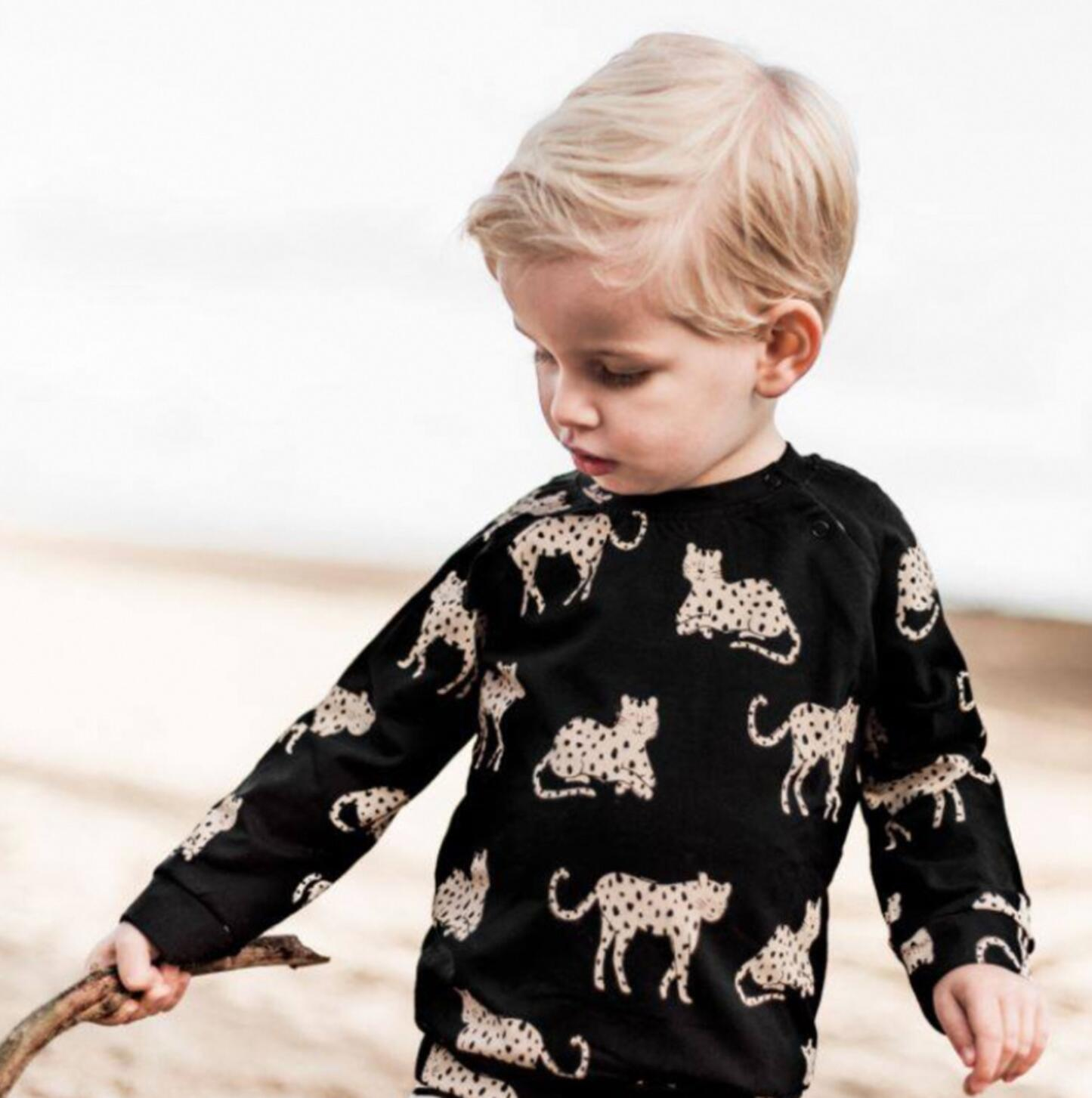 Kids Clothes Sets 2021 New Spring Long Sleeve Leopard Sweatshirt Boys Pants Set Stylish Trends Baby Girls Clothing Sport Outfit 4