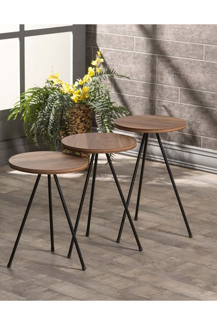 Triple Set Creative Round  Wooden  Coffee Tables 2